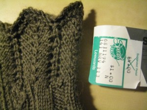 The tag is a total blast from the past - sock yarn, for a dollar?  From Leewards?
