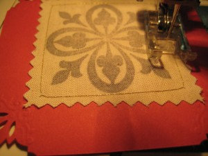 sewing around the edge of the muslin square