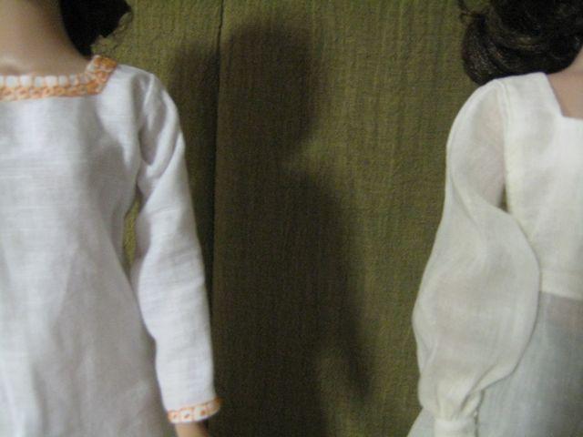 closeup of two smocks