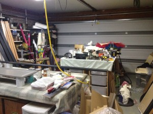 This was the studio garage a couple weeks ago. There really is a platter tutu and a trim saw on my worktable. Does that ever happen to anyone else?