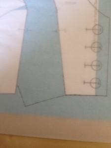 Continue tracing around the center front piece (shoulder, neckline, front, waist, etc).