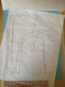 The back vest pattern, with the seam allowances done by the book's guidelines.