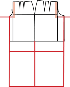 Measure down from the Crotch Depth the Adjusted Waist to Knee and Adjusted Waist to Ankle measurements. Square across from Front to Back.