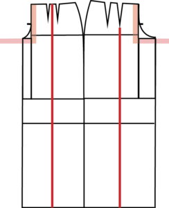 Find the middle of the Ankle line, both Front and Back. Square a line up to the top of the pant. This is the crease line.