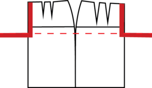 Using the square again, locate the crotch depth on the Center Front. The Back crotch should be placed lined up with the front crotch.