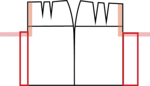 Extend the skirt sloper at CF and CB so that it can go around the thigh. For a reasonably close fit, start with 20% of the block with (at hip) at Center Front and 25% at Center Back.