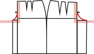 Draw a smooth curve from the midpoint of the Crotch Depth, out to the end of the Crotch Extension for both the Front and the Back.